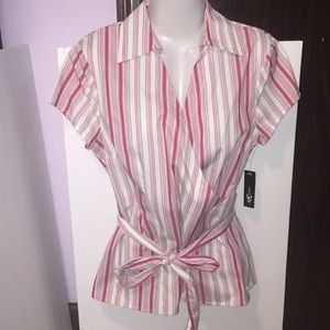 East 5th striped wrap top. Size Large. NWT.